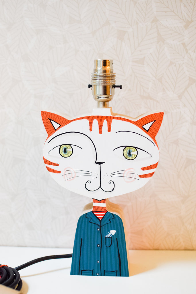 Morgan the cat - plywood lamp base