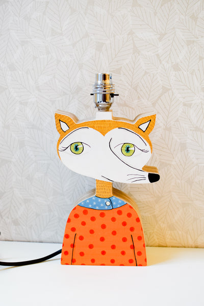 Jacks the fox - Hand-painted Plywood Lamp Base