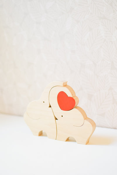 Handmade Wooden 'Elephant Love' Sculpture