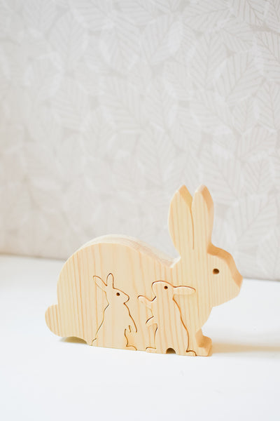 Handmade Wooden Rabbit Family