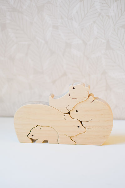Handmade Wooden Bear Family