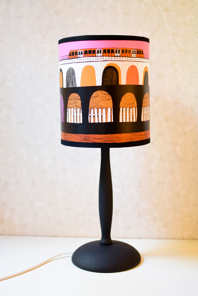 Small Hand-turned Wooden Lamp Base (Painted Black)