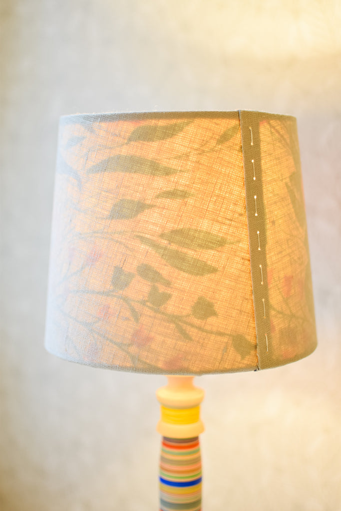 Linen and Silk Stitched Tapered Lampshade no. 57