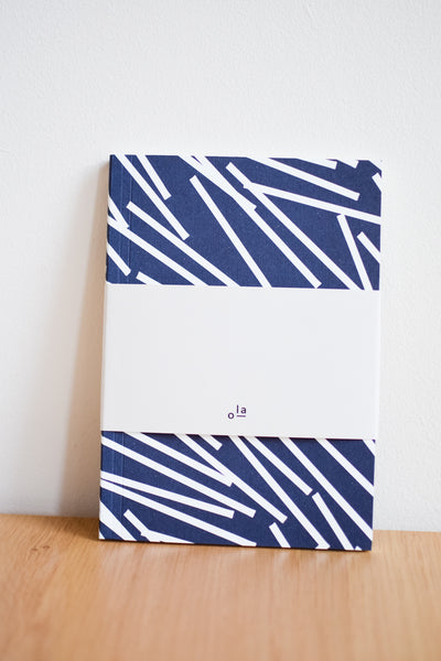 A5 'Lines' Layflat Notebook in Navy Blue and White