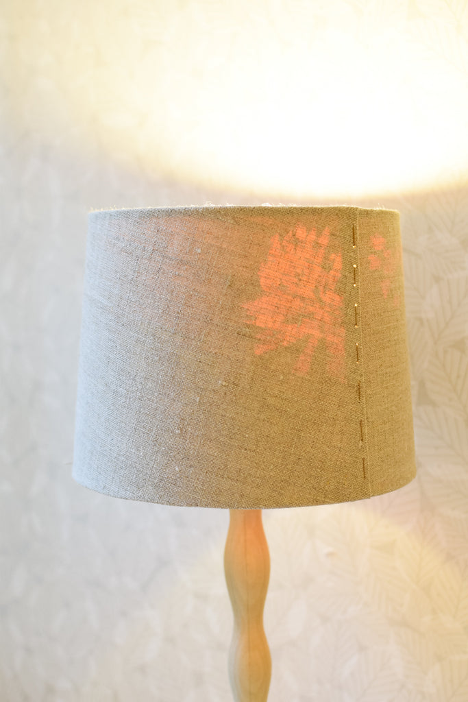Linen and Silk Stitched Tapered Lampshade no. 37