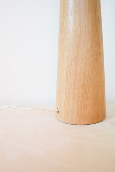 Tall Oak 'Doric' Cone Lamp Base