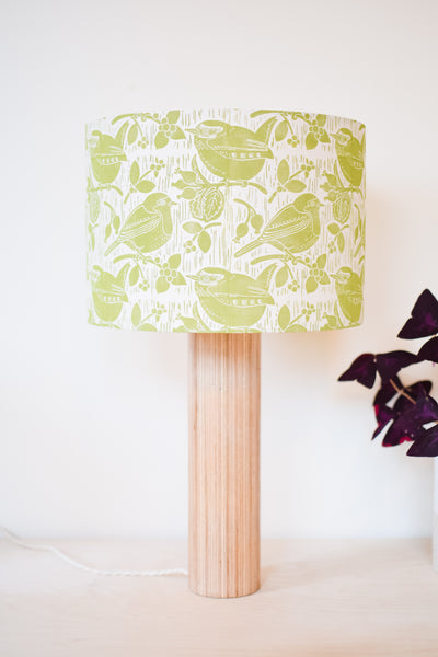 Block Printed Robin & Wren Lampshade in Green/Yellow