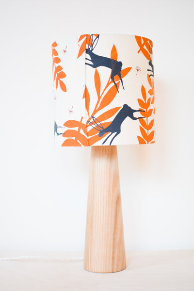 Leaping Hare - Handprinted Fabric Lampshade