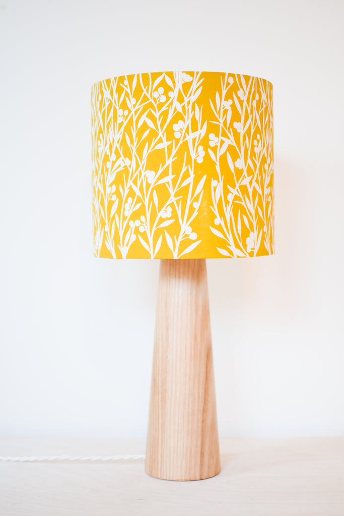 Mustard Floral - Handprinted Fabric Lampshade