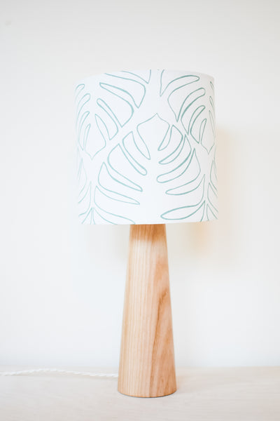 Monstera Outline - Handprinted Fabric Lampshade