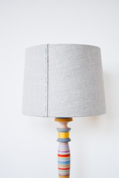 Linen and Pink Silk Stitched Tapered Lampshade
