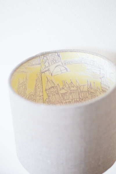 Linen and 'London' Silk Stitched Tapered Lampshade