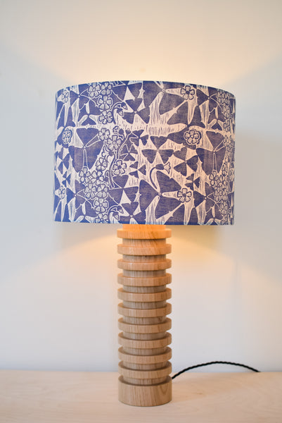Block Printed Oxalis Lampshade in Violet