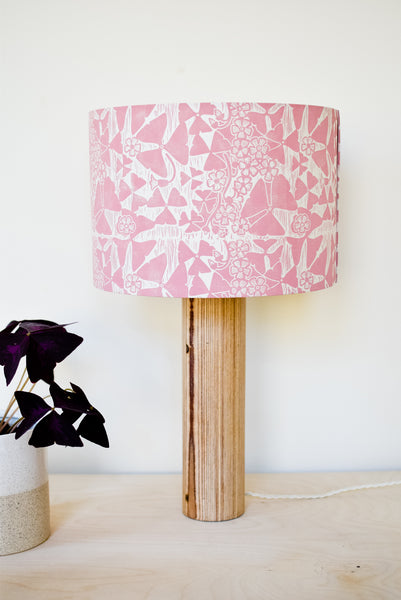 Unusual handmade lampshades by artists in the uk and beyond radiance block printed oxalis lampshade in dusky pink aloadofball Choice Image