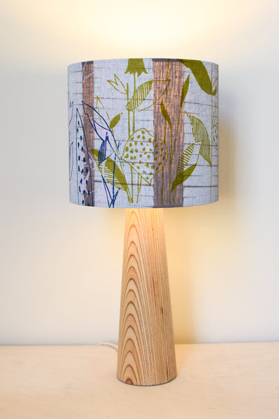 Grey Floral Linen Lampshade