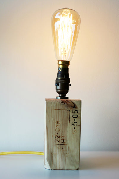Reclaimed Wood Block Lamp #310