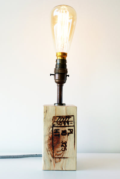 Reclaimed Wood Block Lamp #403
