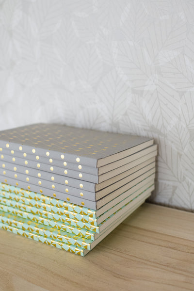 A6 'Victor' Foild Blocked Layflat Notebook - Brass on Park Green