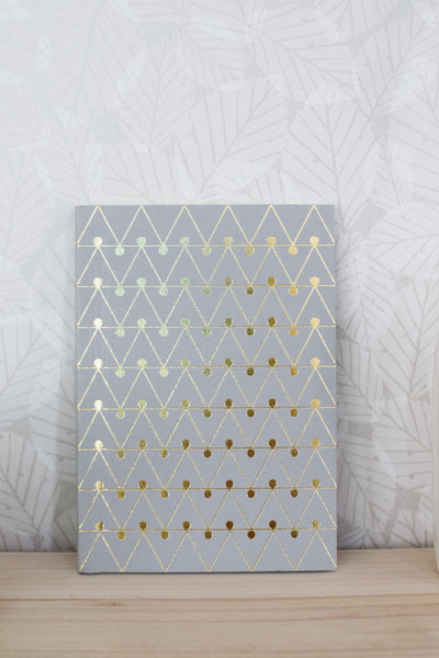 A6 'Dash' Foild Blocked Layflat Notebook - Brass on Grey
