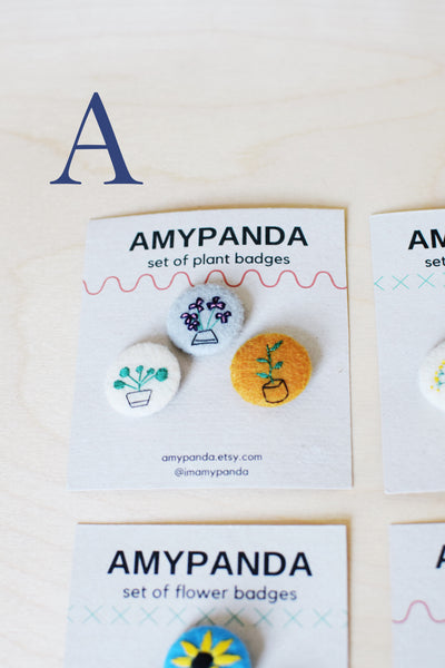 Set of 3 Felted Flower and Plant Badges