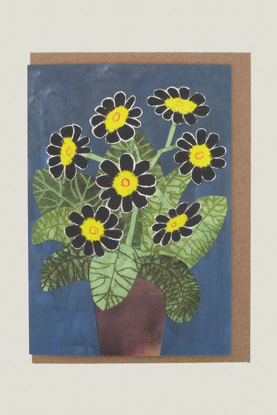 Black Flowers - Greetings Card