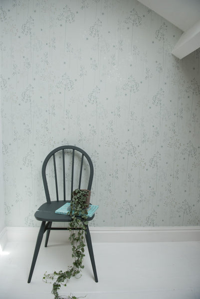 Meadow Grass Wallpaper in Blue & Silver