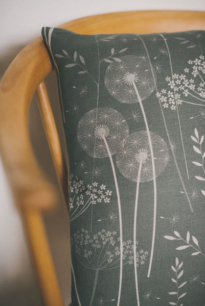 Paper Meadow Cushion in Charcoal