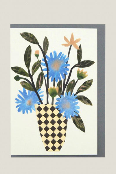 Chequer Vase - Greetings Card