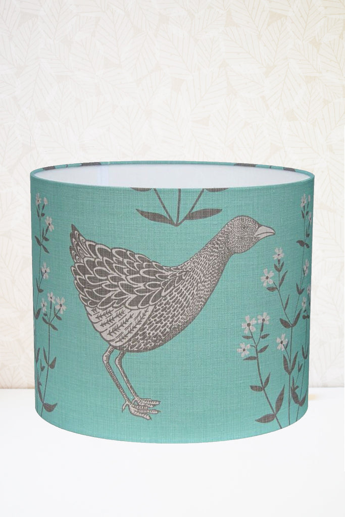 Teal Corncrake Fabric Shade