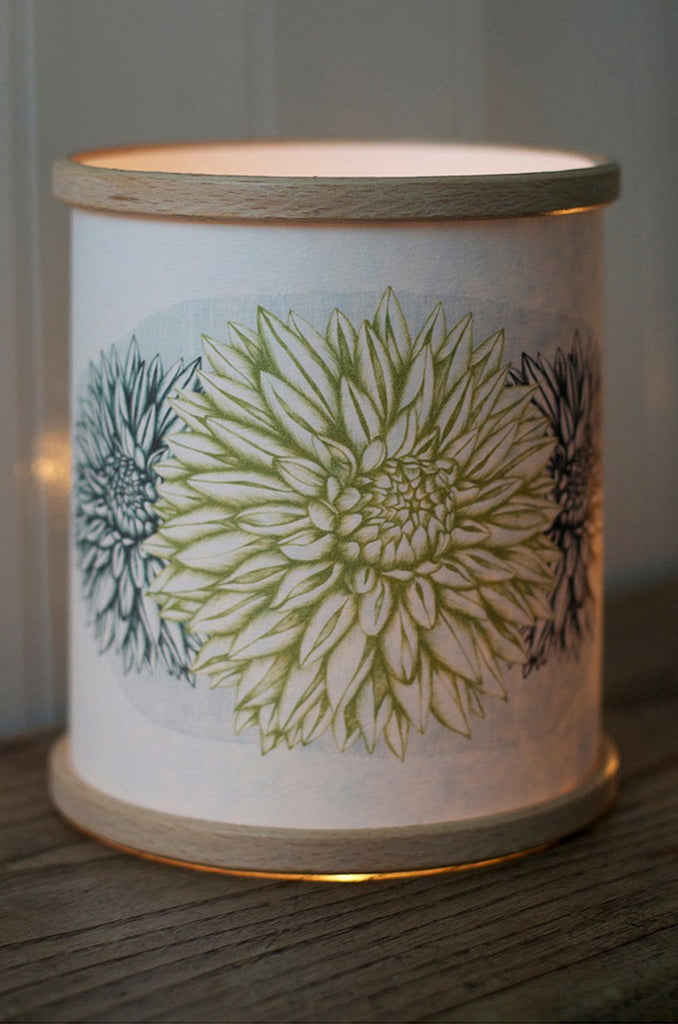 Green Dahlia Candle Cover