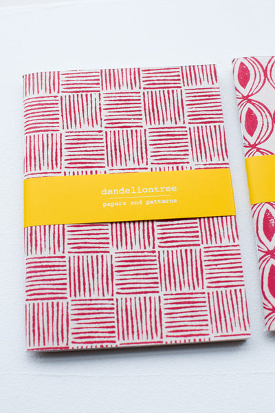 Set of 3 handmade notebooks (red)