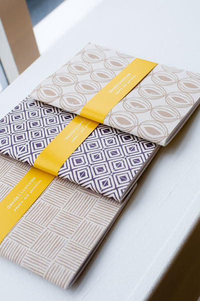 Set of 3 handmade notebooks (sand and purple)