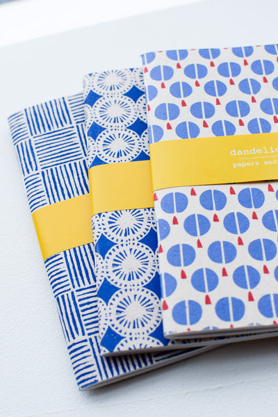 Set of 3 handmade notebooks (blue)