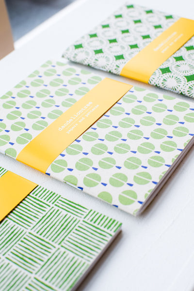 Set of 3 handmade notebooks (green)