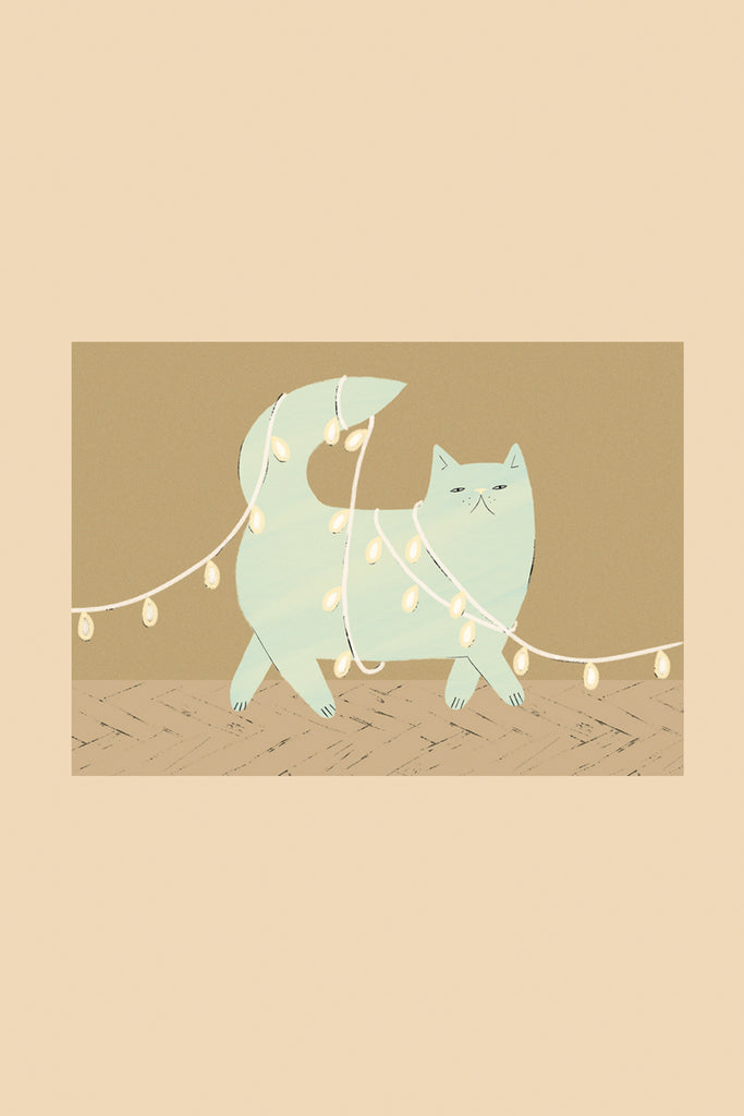 Festive Cat - Greetings Card