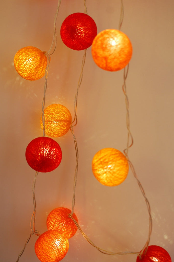 Fiery Tones Cotton Ball Fairy Lights