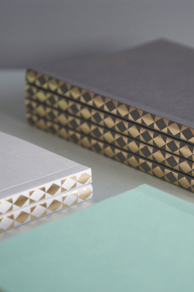 A5 'Diamond' Patterned Spine Layflat Notebook in Dark Grey