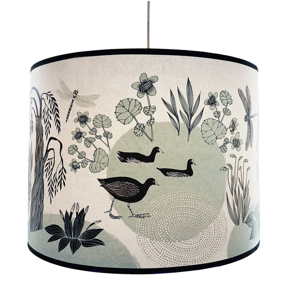Light Blue Goose and Moorhen Lampshade