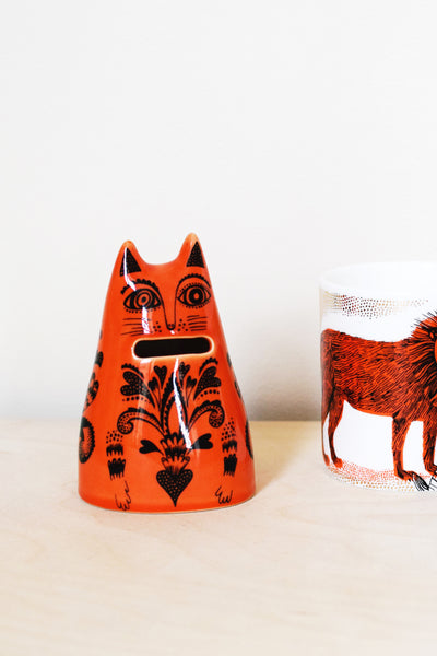 'Kiki' Orange Cat Money Jar
