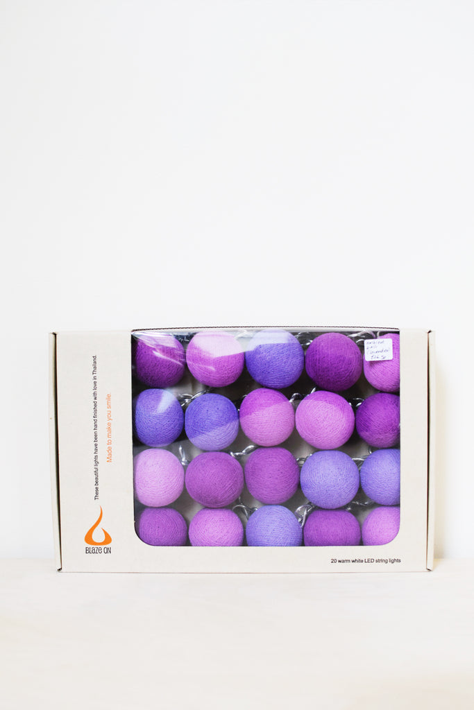 Lavender Tones Cotton Ball Fairy Lights