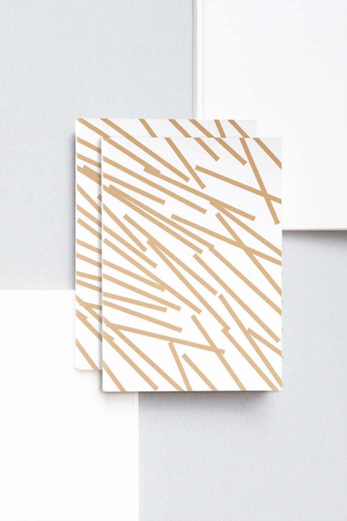 A6 'Lines' Patterned Layflat Notebook - Gold