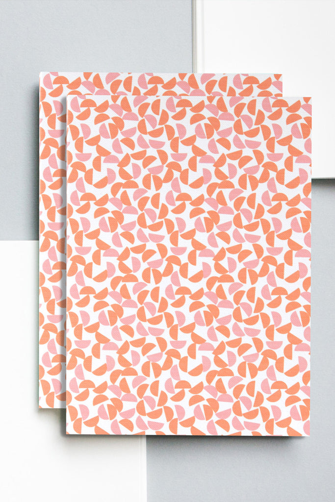 A5 'Maze' Layflat Notebook in Burnt Orange and Salmon