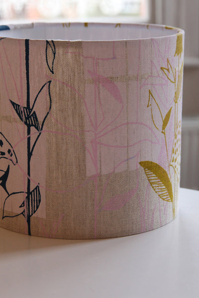 Natural Floral Linen Lampshade