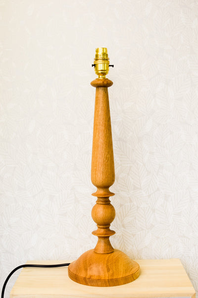 Solid Oak Candlestick-Style Lamp Base