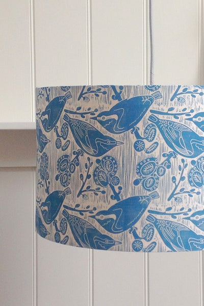 Block Printed Nuthatches & Willow Lampshade in Blue