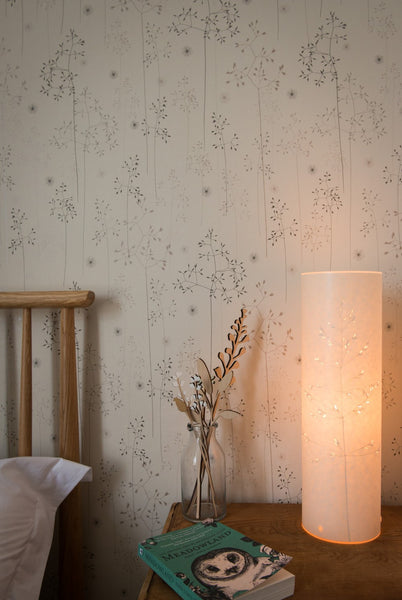 Meadow Grass Wallpaper in Oatmeal & Blush