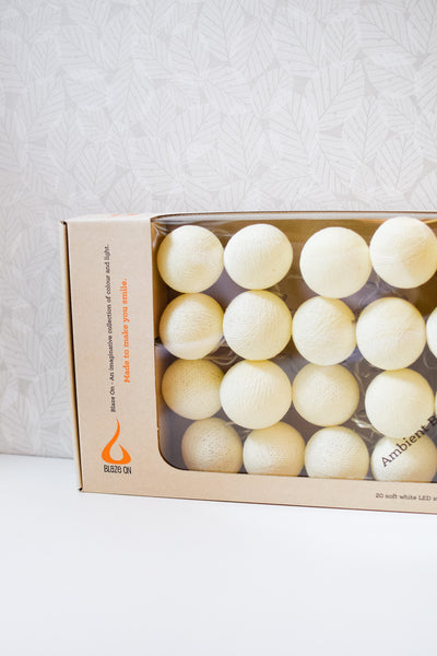 Cream Cotton Ball Fairy Lights