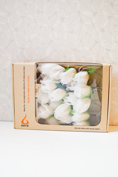 White Chelsea Rose Fairy Lights