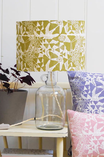 Block Printed Oxalis Lampshade in Moss Green