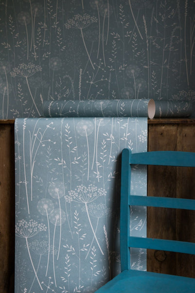Paper Meadow Wallpaper In Teal